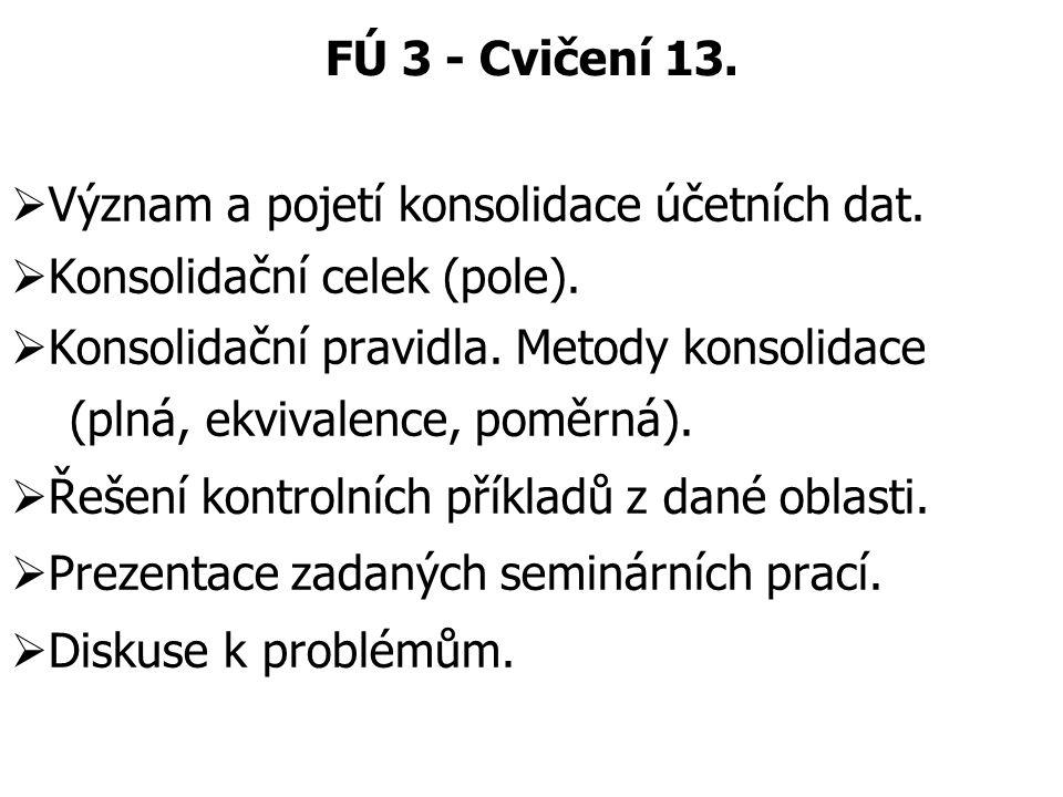 FÚ 3 - Cvičení 13. Význam a pojetí konsolidace účetních dat. Konsolidační celek (pole). Konsolidační pravidla. Metody konsolidace.