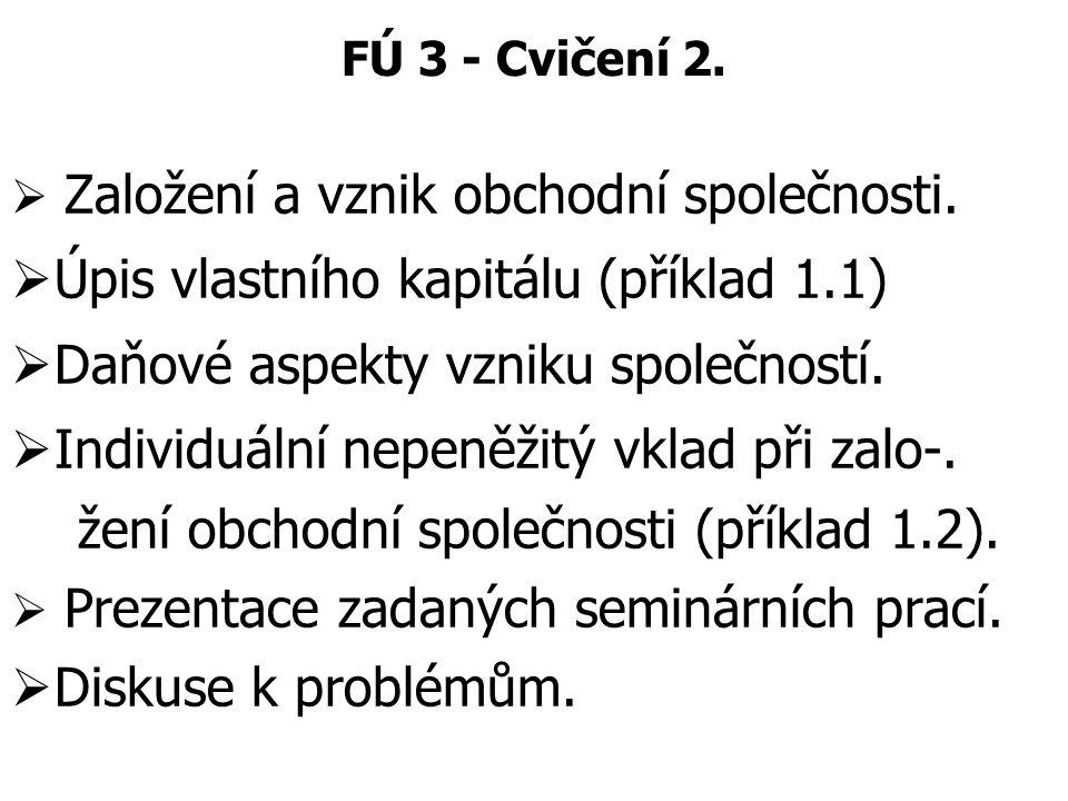 Úpis vlastního kapitálu (příklad 1.1)