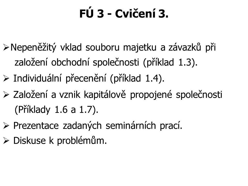 FÚ 3 - Cvičení 3. Nepeněžitý vklad souboru majetku a závazků při