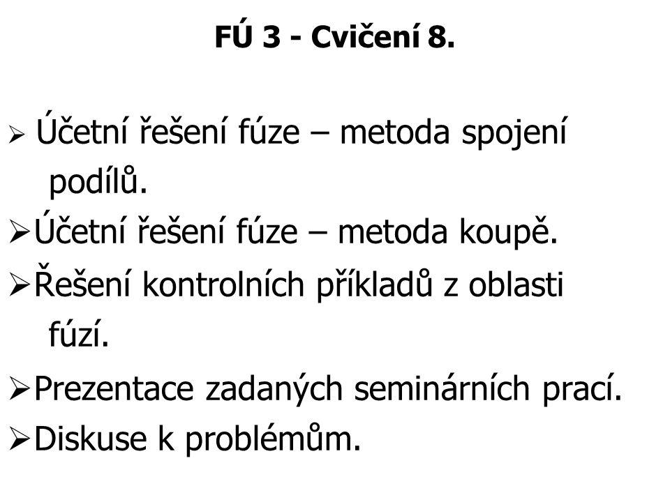 Účetní řešení fúze – metoda koupě.