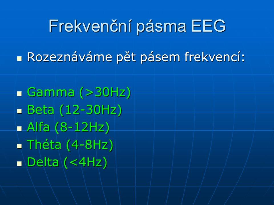 Frekvenční pásma EEG Rozeznáváme pět pásem frekvencí: Gamma (>30Hz)