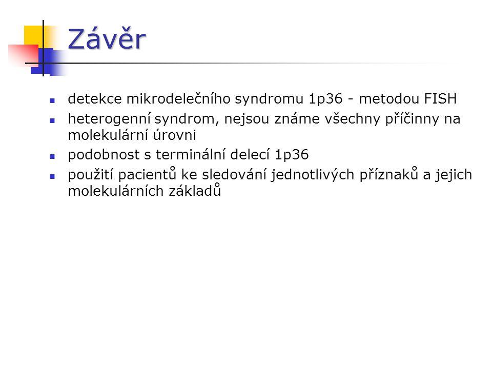 Závěr detekce mikrodelečního syndromu 1p36 - metodou FISH
