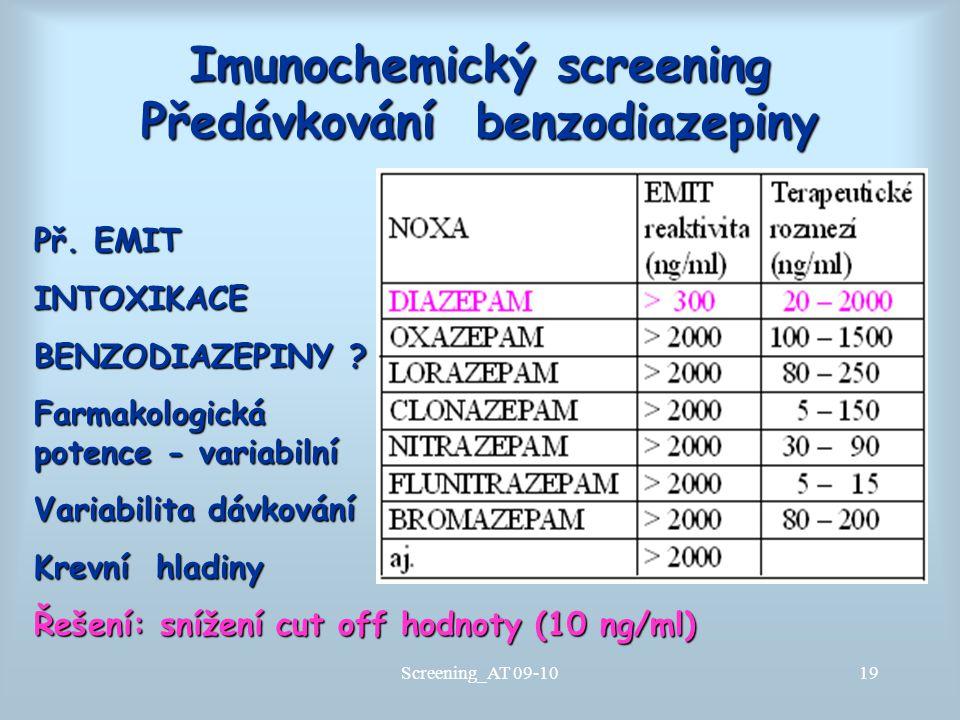 Imunochemický screening Předávkování benzodiazepiny