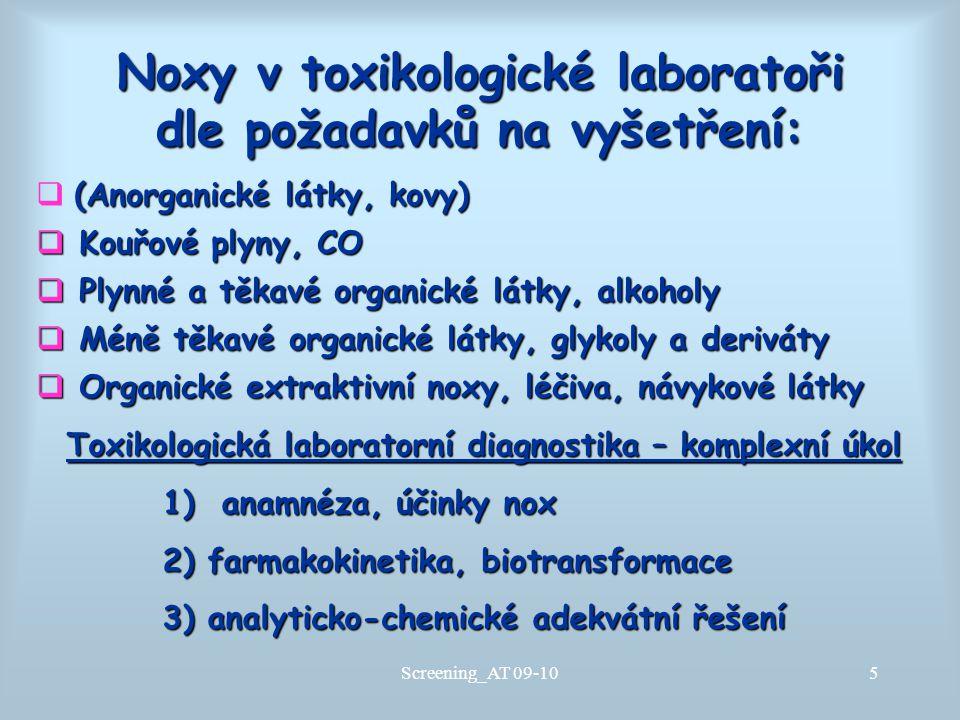 Noxy v toxikologické laboratoři dle požadavků na vyšetření: