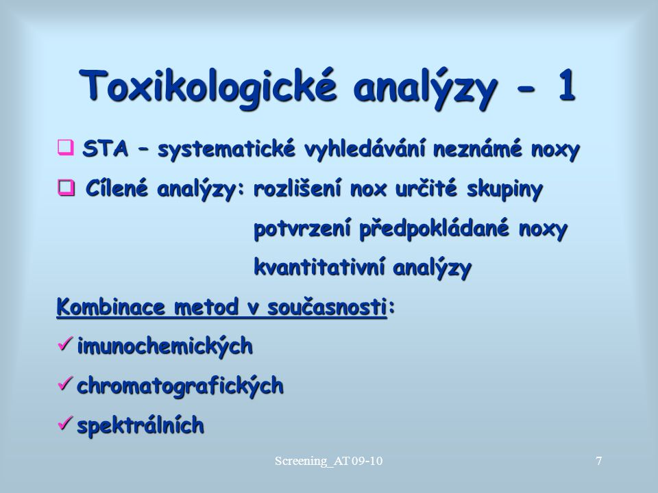 Toxikologické analýzy - 1
