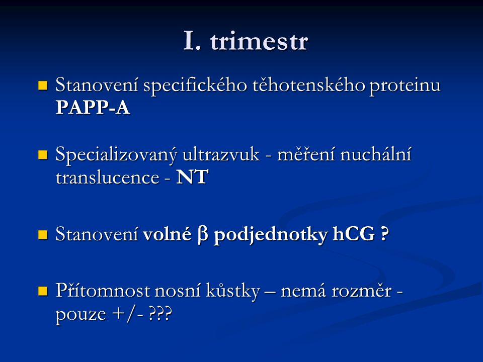 I. trimestr Stanovení specifického těhotenského proteinu PAPP-A