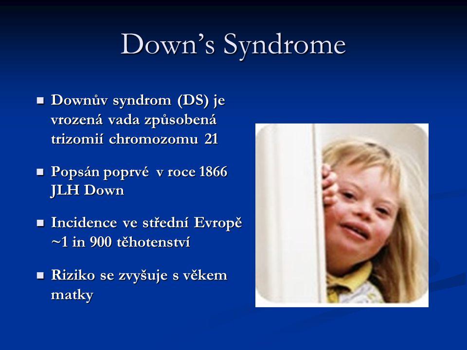 Down's Syndrome Downův syndrom (DS) je vrozená vada způsobená trizomií chromozomu 21. Popsán poprvé v roce 1866 JLH Down.
