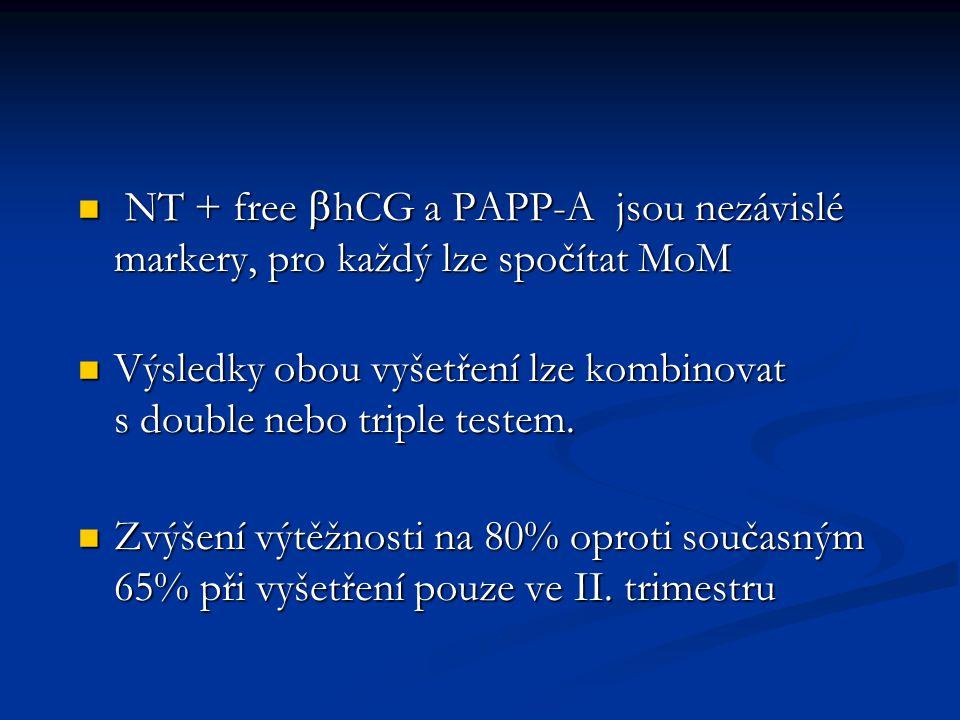 NT + free bhCG a PAPP-A jsou nezávislé markery, pro každý lze spočítat MoM