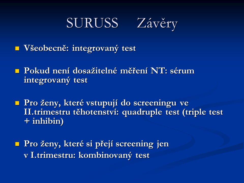 SURUSS Závěry Všeobecně: integrovaný test
