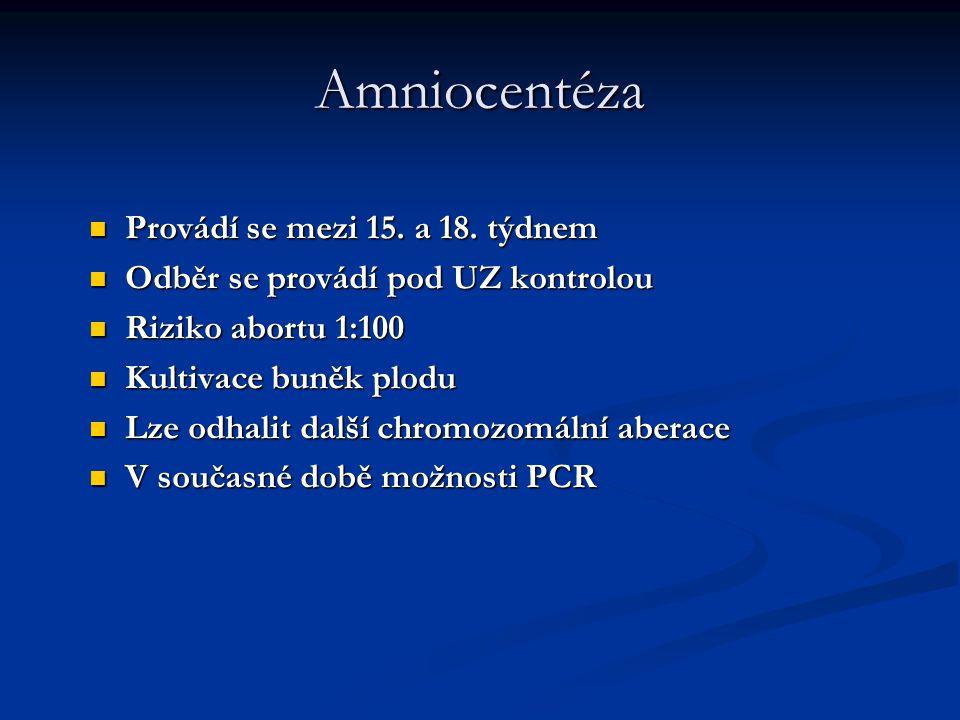 Amniocentéza Provádí se mezi 15. a 18. týdnem