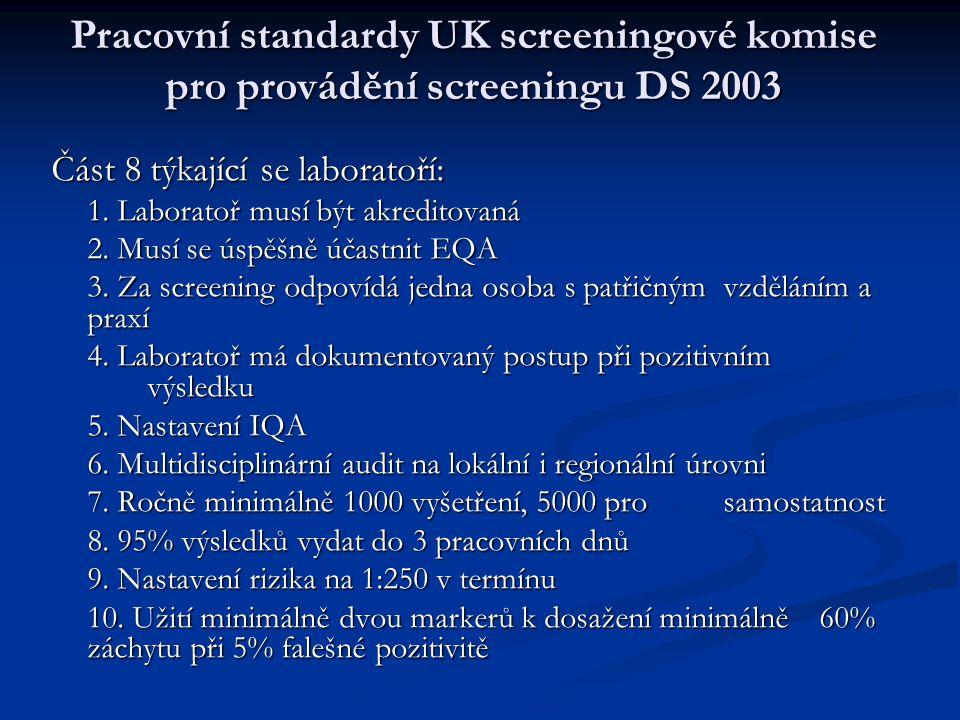 Pracovní standardy UK screeningové komise pro provádění screeningu DS 2003