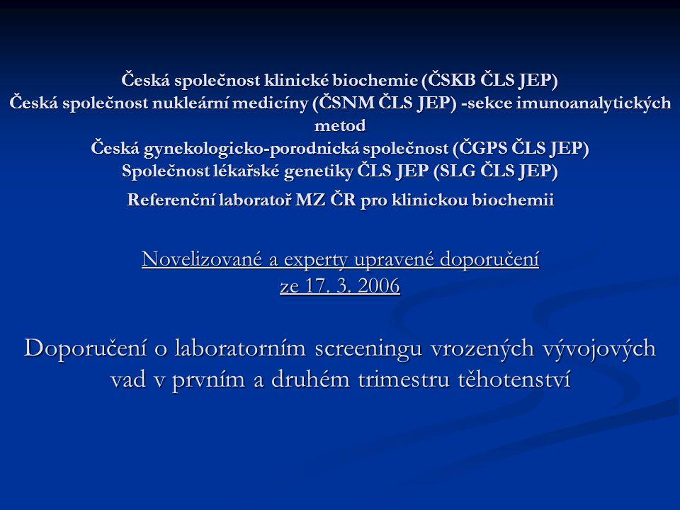 Česká společnost klinické biochemie (ČSKB ČLS JEP) Česká společnost nukleární medicíny (ČSNM ČLS JEP) -sekce imunoanalytických metod Česká gynekologicko-porodnická společnost (ČGPS ČLS JEP) Společnost lékařské genetiky ČLS JEP (SLG ČLS JEP) Referenční laboratoř MZ ČR pro klinickou biochemii Novelizované a experty upravené doporučení ze 17.