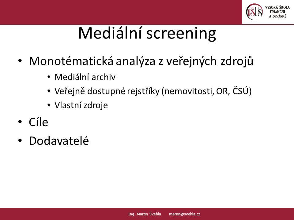 Mediální screening Monotématická analýza z veřejných zdrojů Cíle