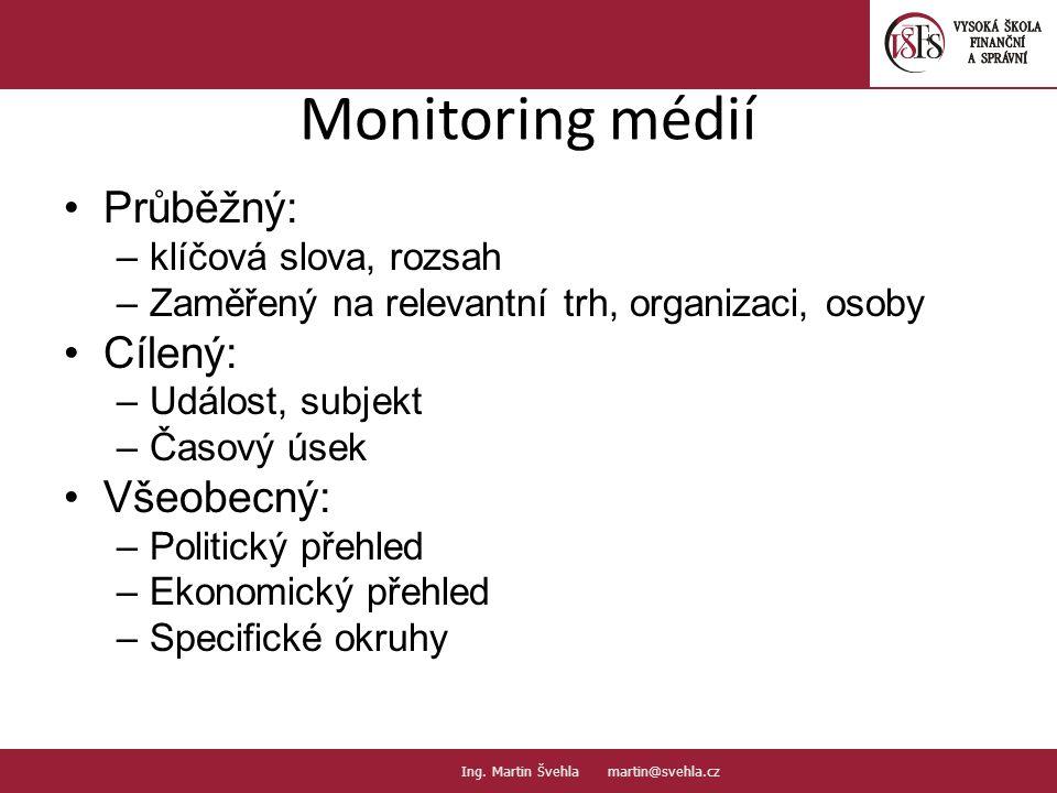 Monitoring médií Průběžný: Cílený: Všeobecný: klíčová slova, rozsah