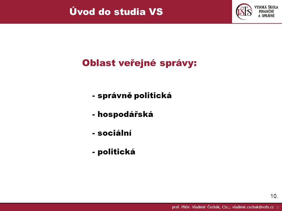 Oblast veřejné správy: