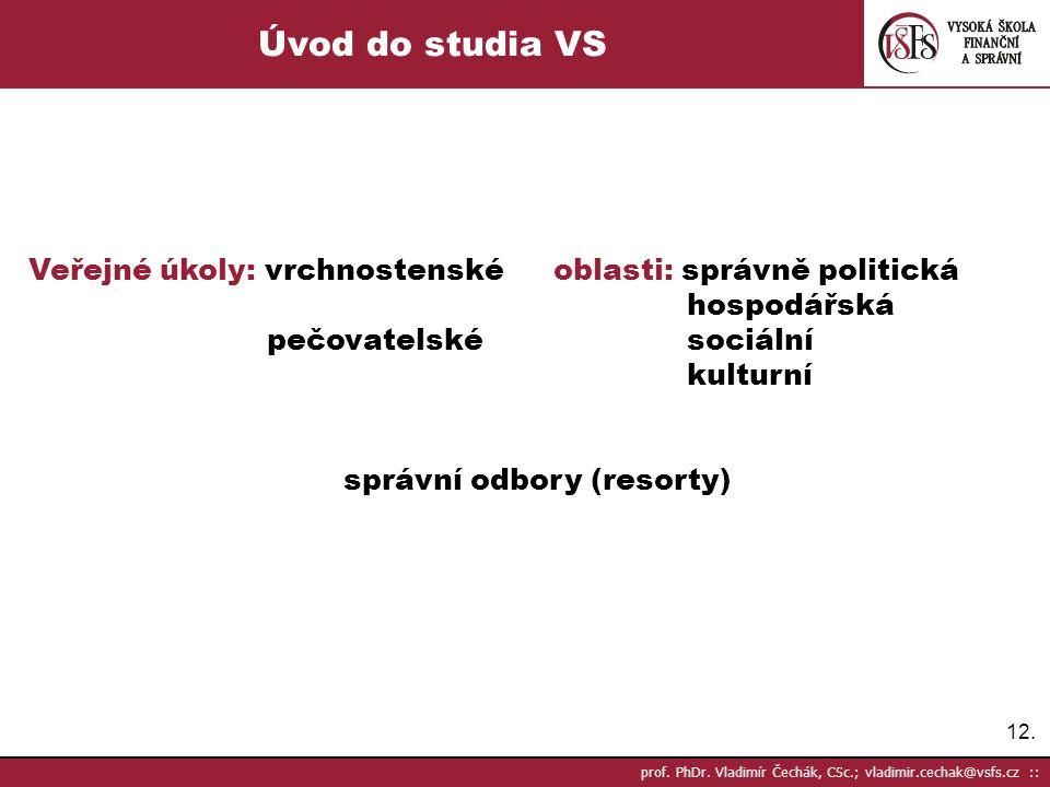 Úvod do studia VS Veřejné úkoly: vrchnostenské oblasti: správně politická. hospodářská. pečovatelské sociální.