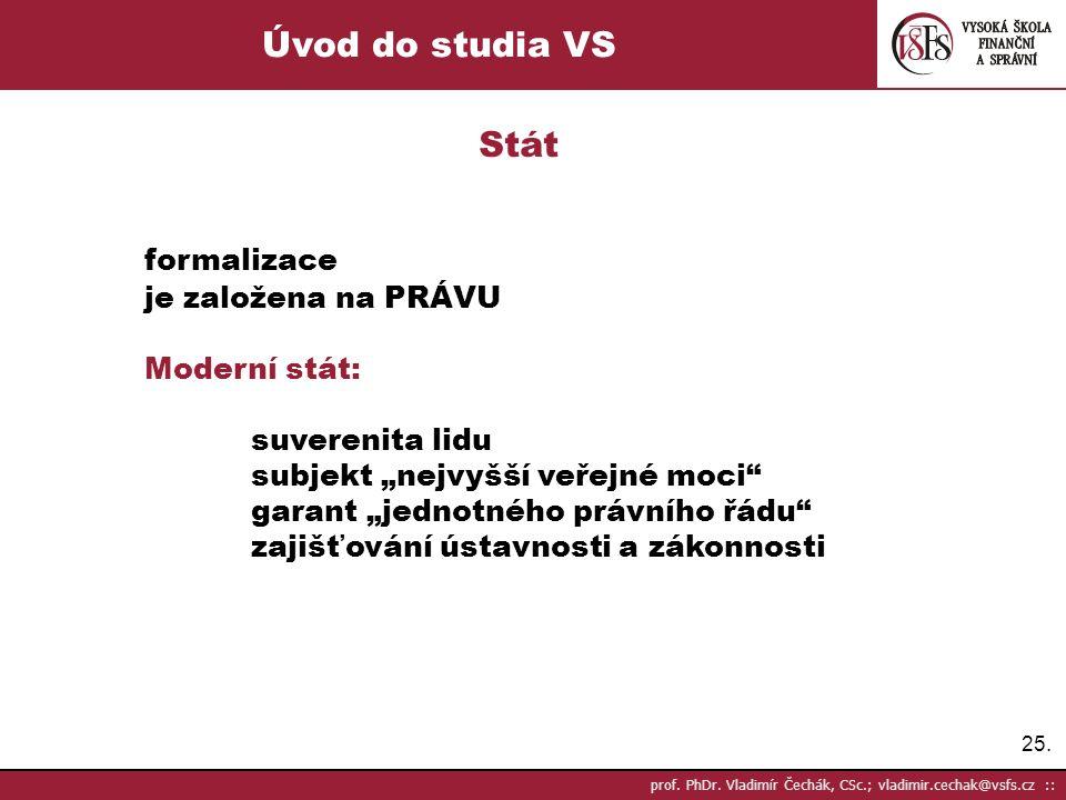 Úvod do studia VS Stát formalizace je založena na PRÁVU Moderní stát: