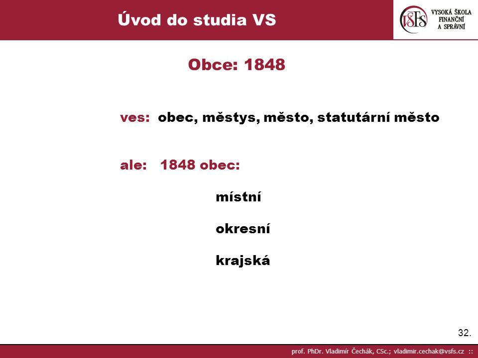 Úvod do studia VS Obce: 1848. ves: obec, městys, město, statutární město. ale: 1848 obec: místní.