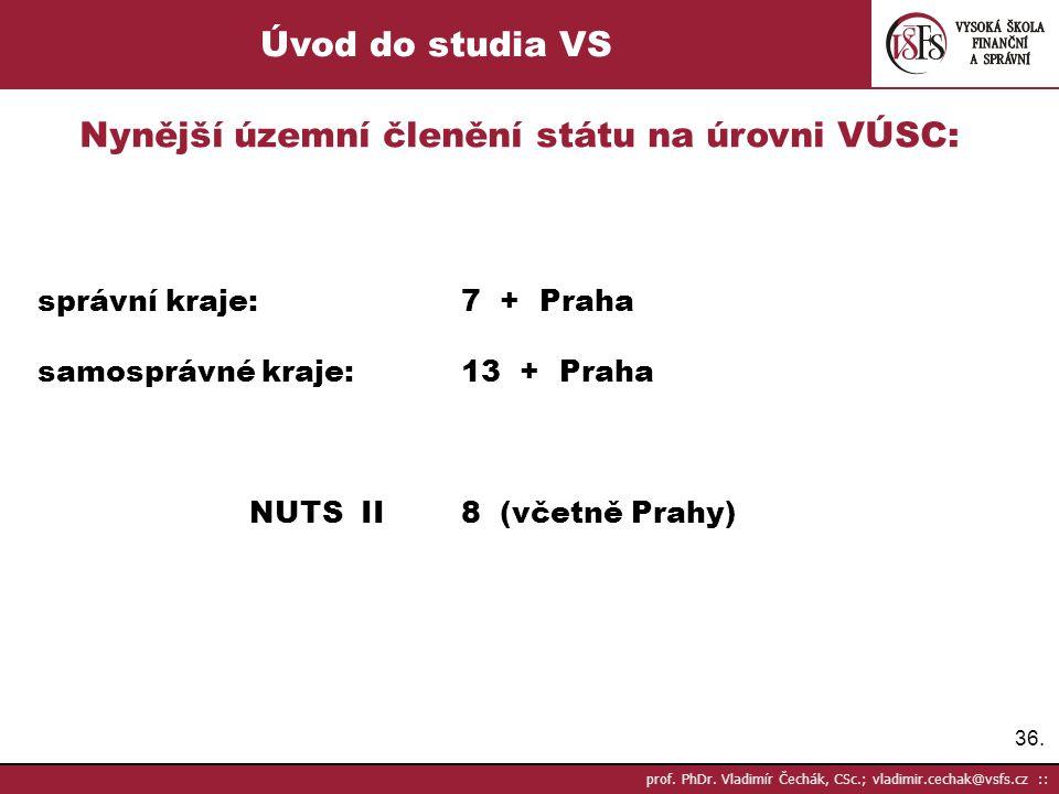 Nynější územní členění státu na úrovni VÚSC: