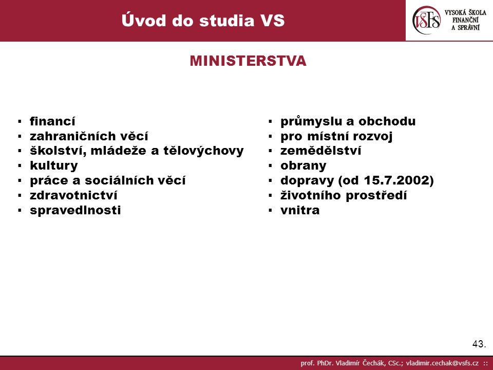 Úvod do studia VS MINISTERSTVA ▪ financí ▪ průmyslu a obchodu