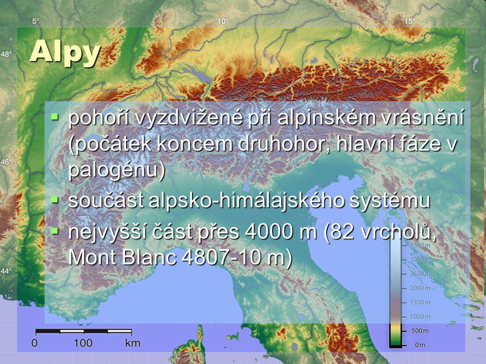 Alpy pohoří vyzdvižené při alpinském vrásnění (počátek koncem druhohor, hlavní fáze v palogénu) součást alpsko-himálajského systému.