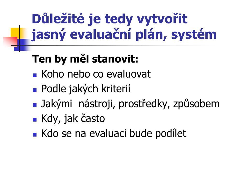 Důležité je tedy vytvořit jasný evaluační plán, systém