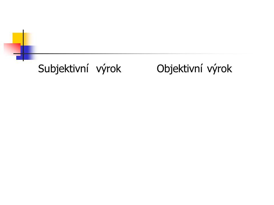 Subjektivní výrok Objektivní výrok