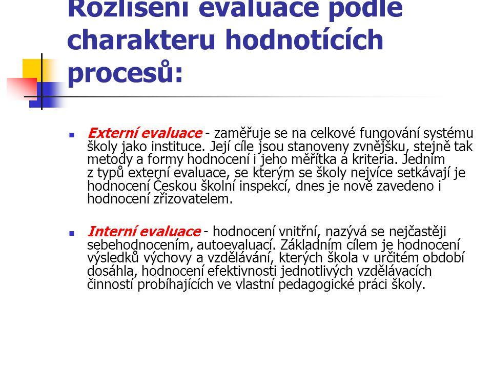Rozlišení evaluace podle charakteru hodnotících procesů:
