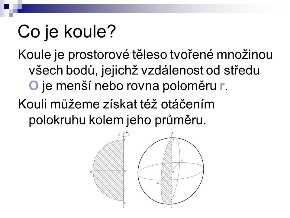 Co je koule Koule je prostorové těleso tvořené množinou všech bodů, jejichž vzdálenost od středu O je menší nebo rovna poloměru r.