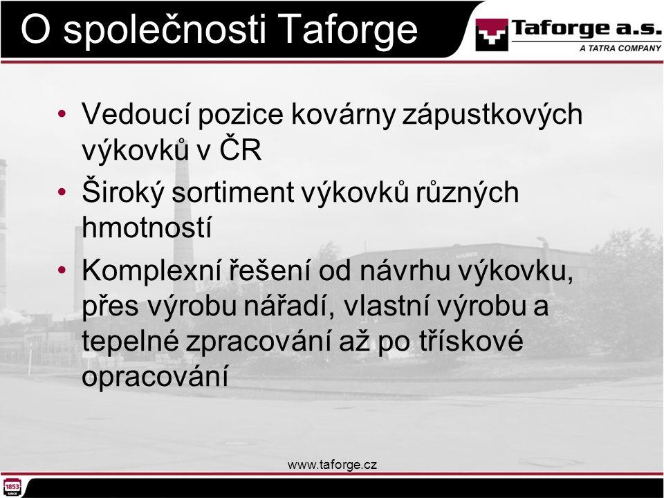 O společnosti Taforge Vedoucí pozice kovárny zápustkových výkovků v ČR