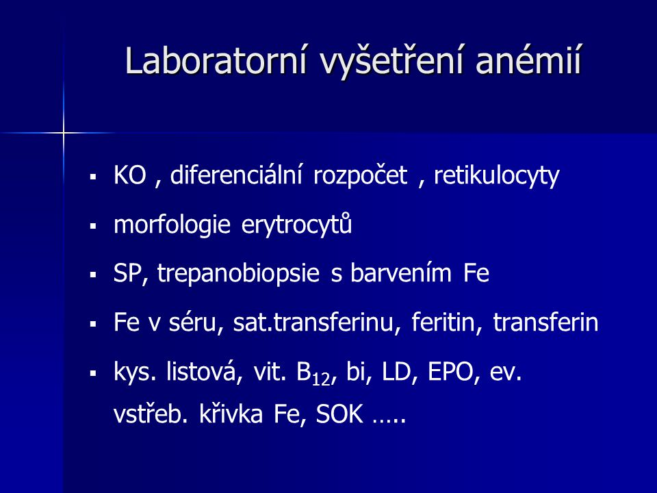 Laboratorní vyšetření anémií