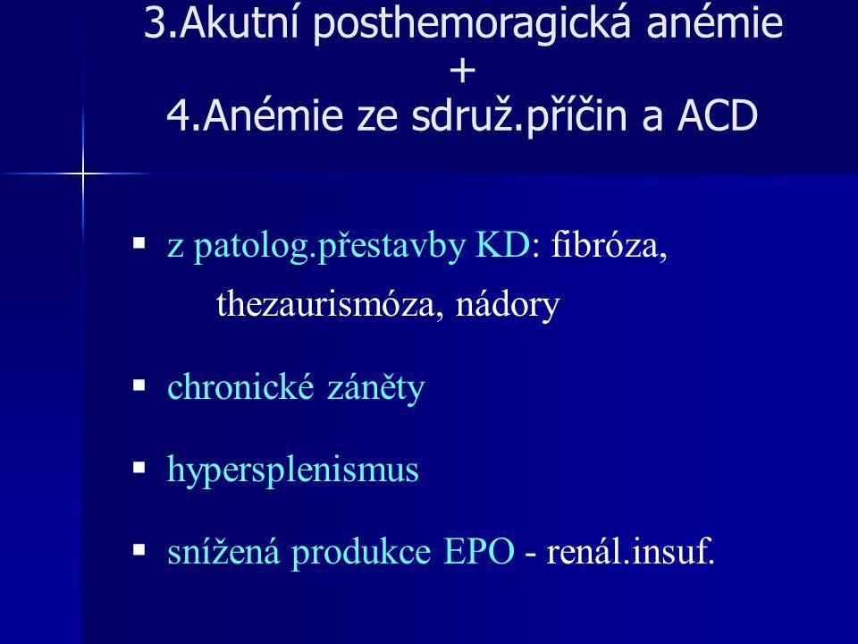 3.Akutní posthemoragická anémie + 4.Anémie ze sdruž.příčin a ACD