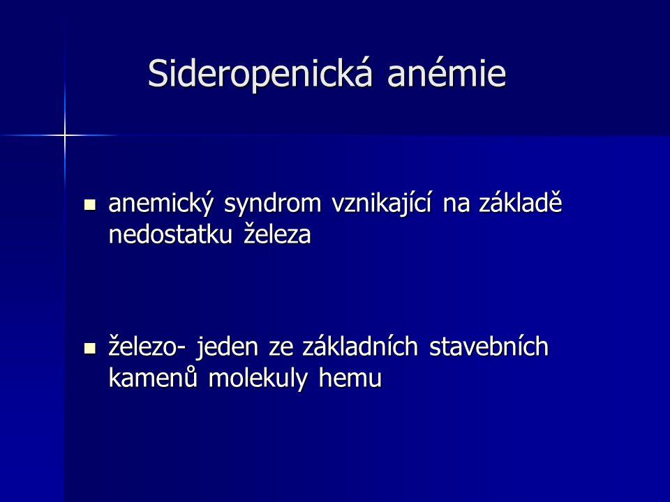 Sideropenická anémie anemický syndrom vznikající na základě nedostatku železa.