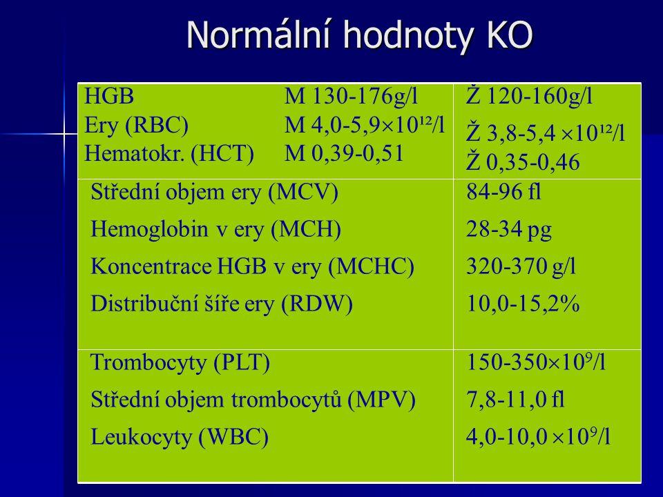 Normální hodnoty KO 150-350109/l 7,8-11,0 fl 4,0-10,0 109/l
