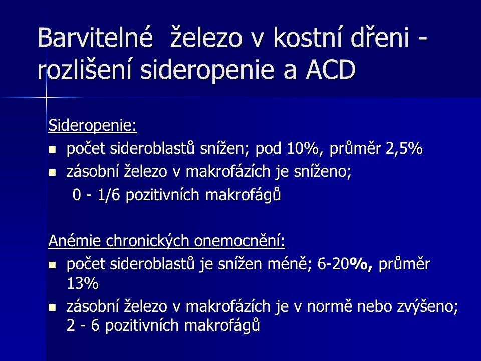 Barvitelné železo v kostní dřeni - rozlišení sideropenie a ACD