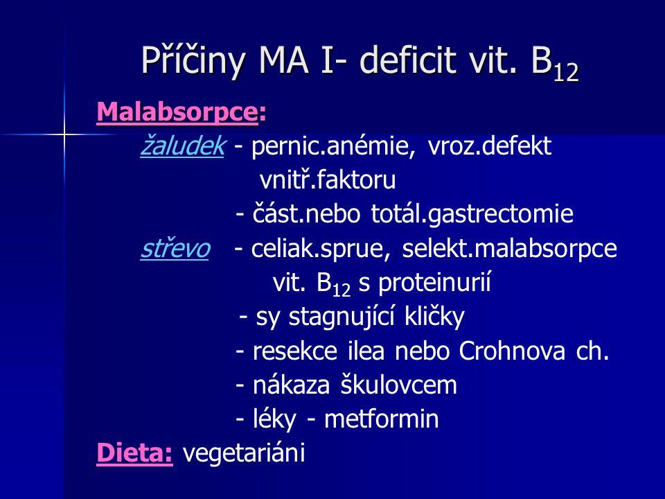 Příčiny MA I- deficit vit. B12