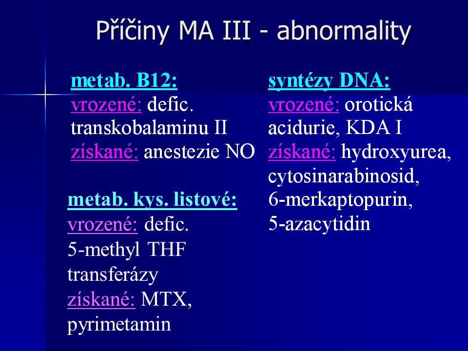 Příčiny MA III - abnormality
