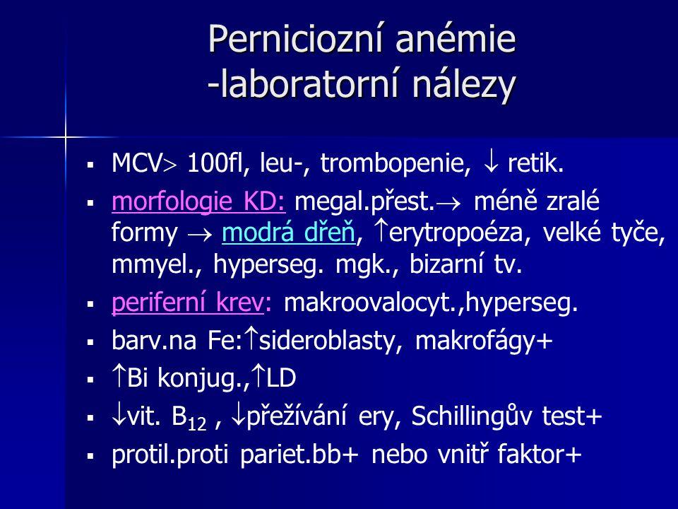Perniciozní anémie -laboratorní nálezy