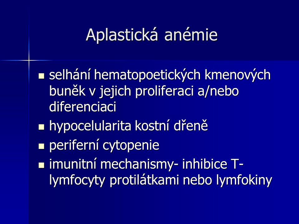 Aplastická anémie selhání hematopoetických kmenových buněk v jejich proliferaci a/nebo diferenciaci.