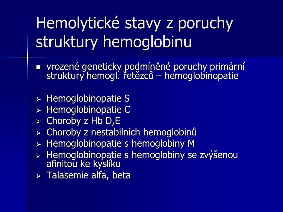 Hemolytické stavy z poruchy struktury hemoglobinu