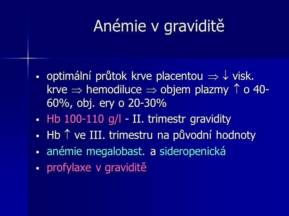 Anémie v graviditě optimální průtok krve placentou   visk. krve  hemodiluce  objem plazmy  o 40-60%, obj. ery o 20-30%