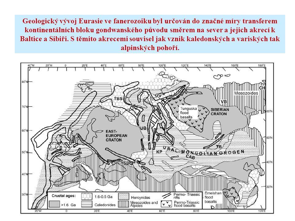 Geologický vývoj Eurasie ve fanerozoiku byl určován do značné míry transferem kontinentálních bloku gondwanského původu směrem na sever a jejich akrecí k Baltice a Sibiři.