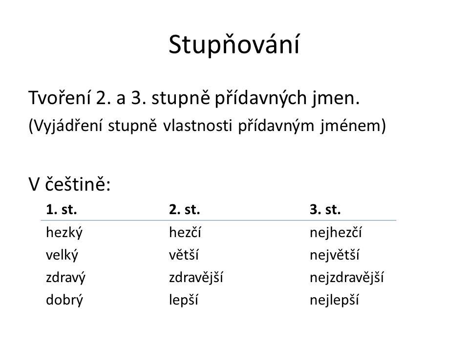 Stupňování Tvoření 2. a 3. stupně přídavných jmen. V češtině: