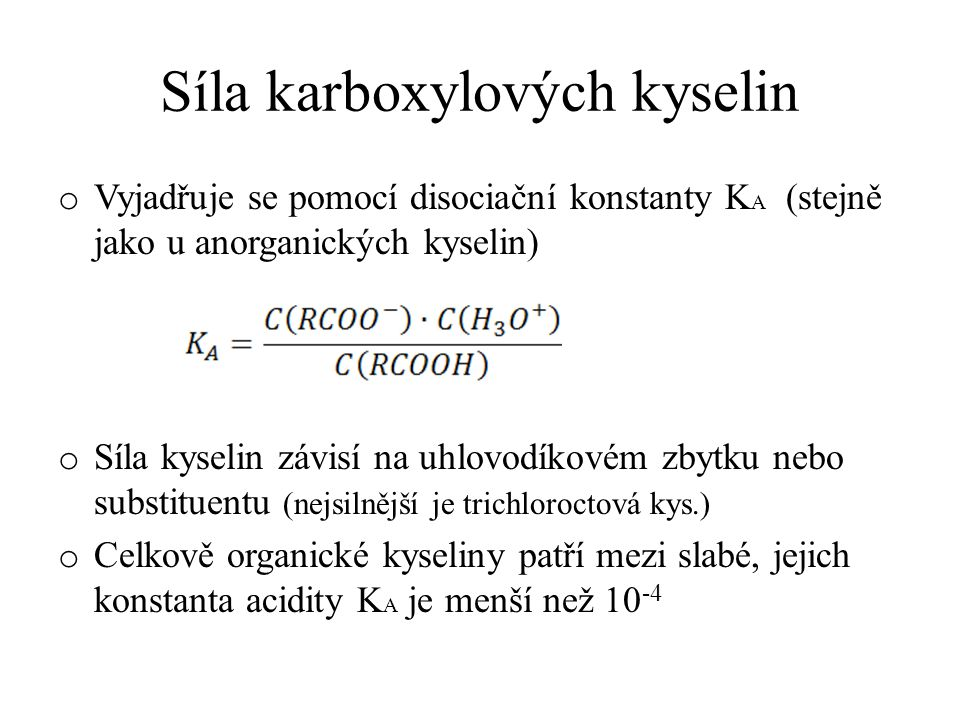Síla karboxylových kyselin