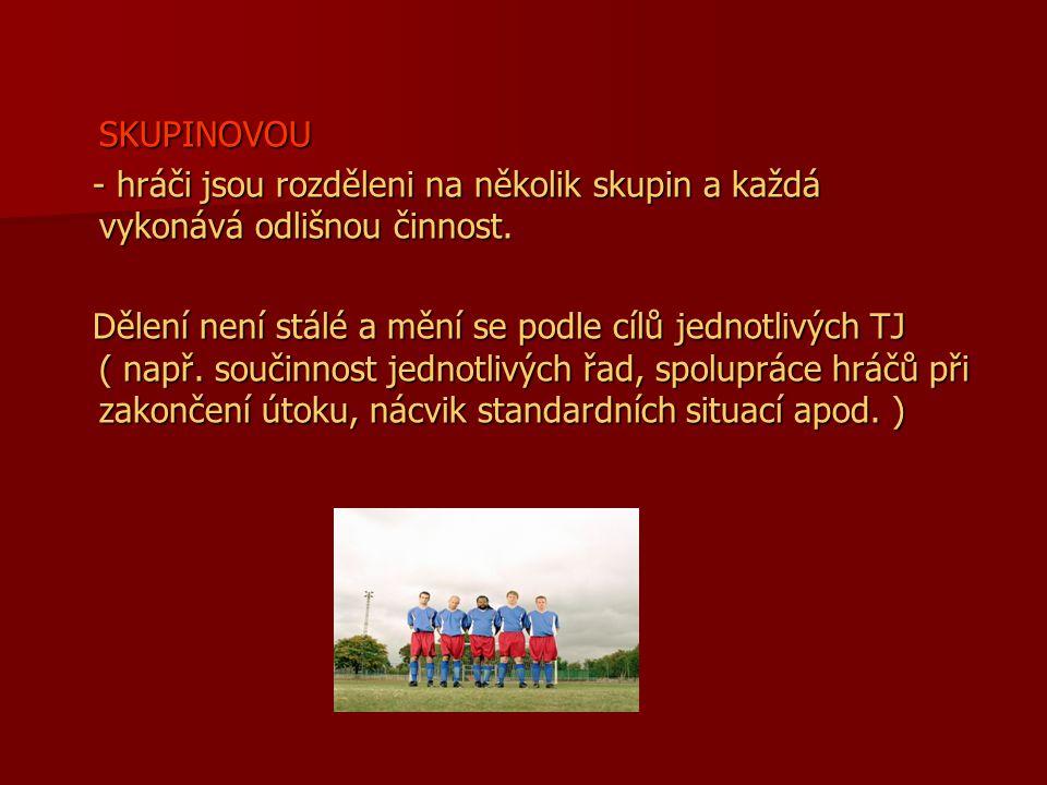 SKUPINOVOU - hráči jsou rozděleni na několik skupin a každá vykonává odlišnou činnost.