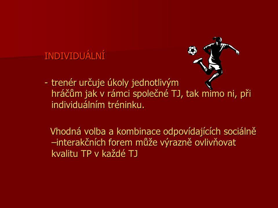 INDIVIDUÁLNÍ trenér určuje úkoly jednotlivým hráčům jak v rámci společné TJ, tak mimo ni, při individuálním tréninku.