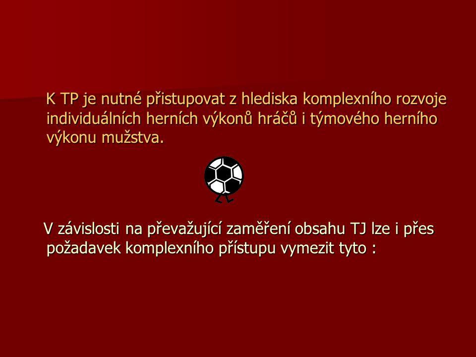 K TP je nutné přistupovat z hlediska komplexního rozvoje individuálních herních výkonů hráčů i týmového herního výkonu mužstva.