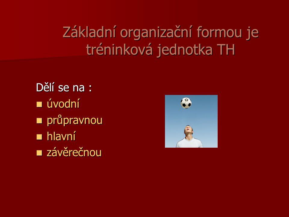 Základní organizační formou je tréninková jednotka TH