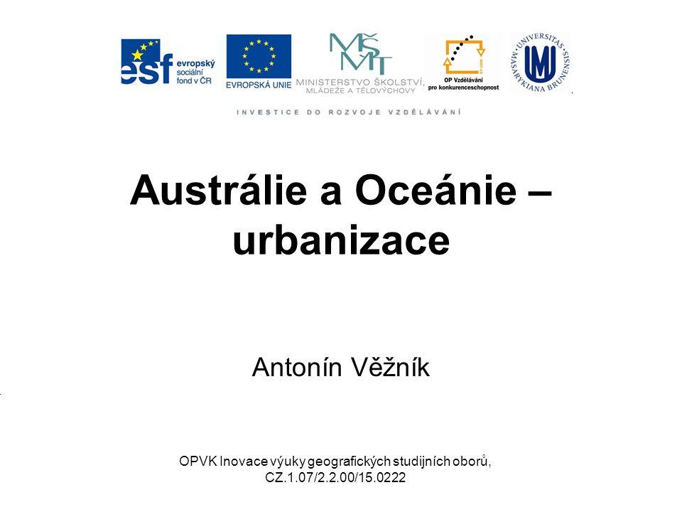Austrálie a Oceánie – urbanizace