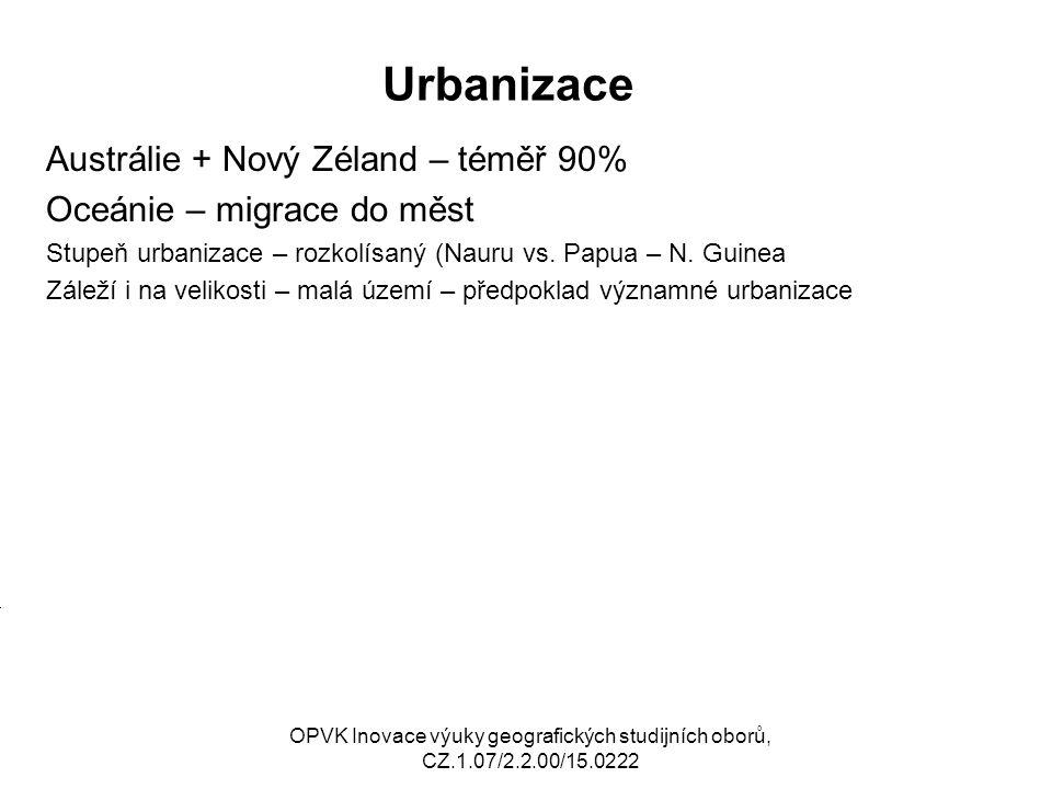 Urbanizace Austrálie + Nový Zéland – téměř 90%